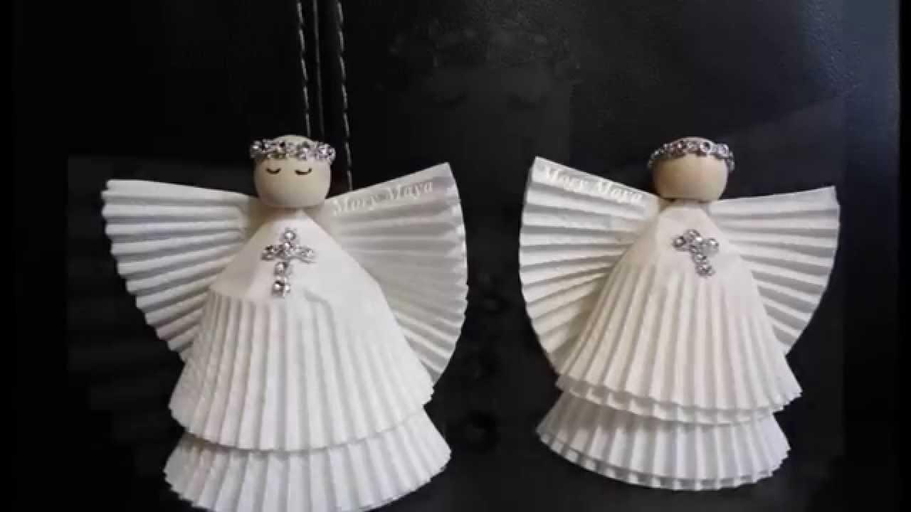 Como hacer angeles con capacillos para cupcakes, DIY decoración navideña
