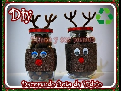 Diy. Como decorar bote de vidrio navideño. Diy   Christmas decorating glass jar