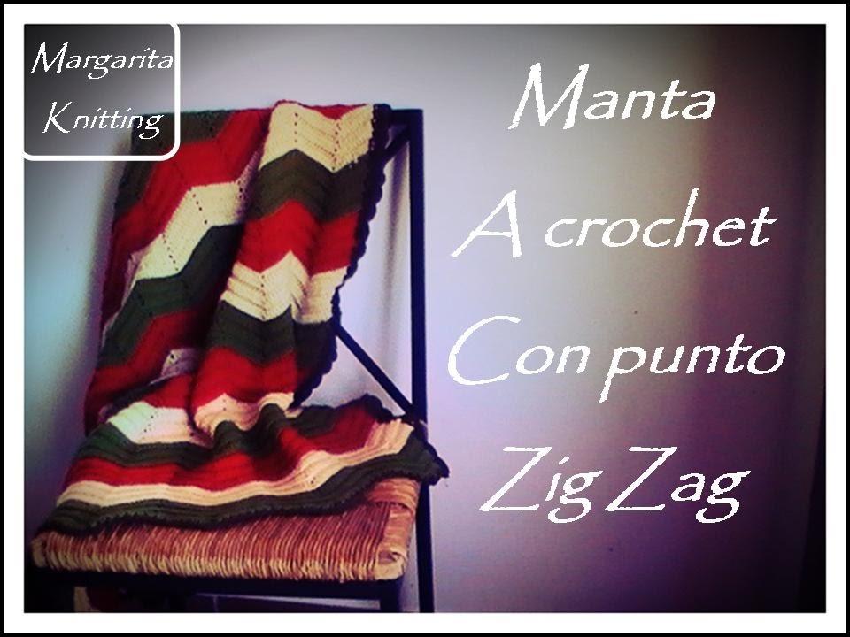 Manta a crochet Zig Zag (zurdo)