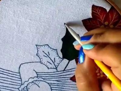Pintura en tela vendedora de nochebuenas dos con cony