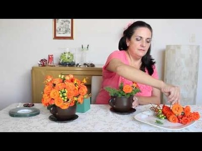 Centro de mesa con flores naranja DIY Centerpiece orange