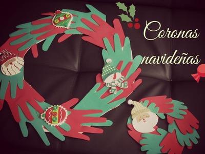 Corona navideña.  manualidades faciles para navidad .  reciclaje