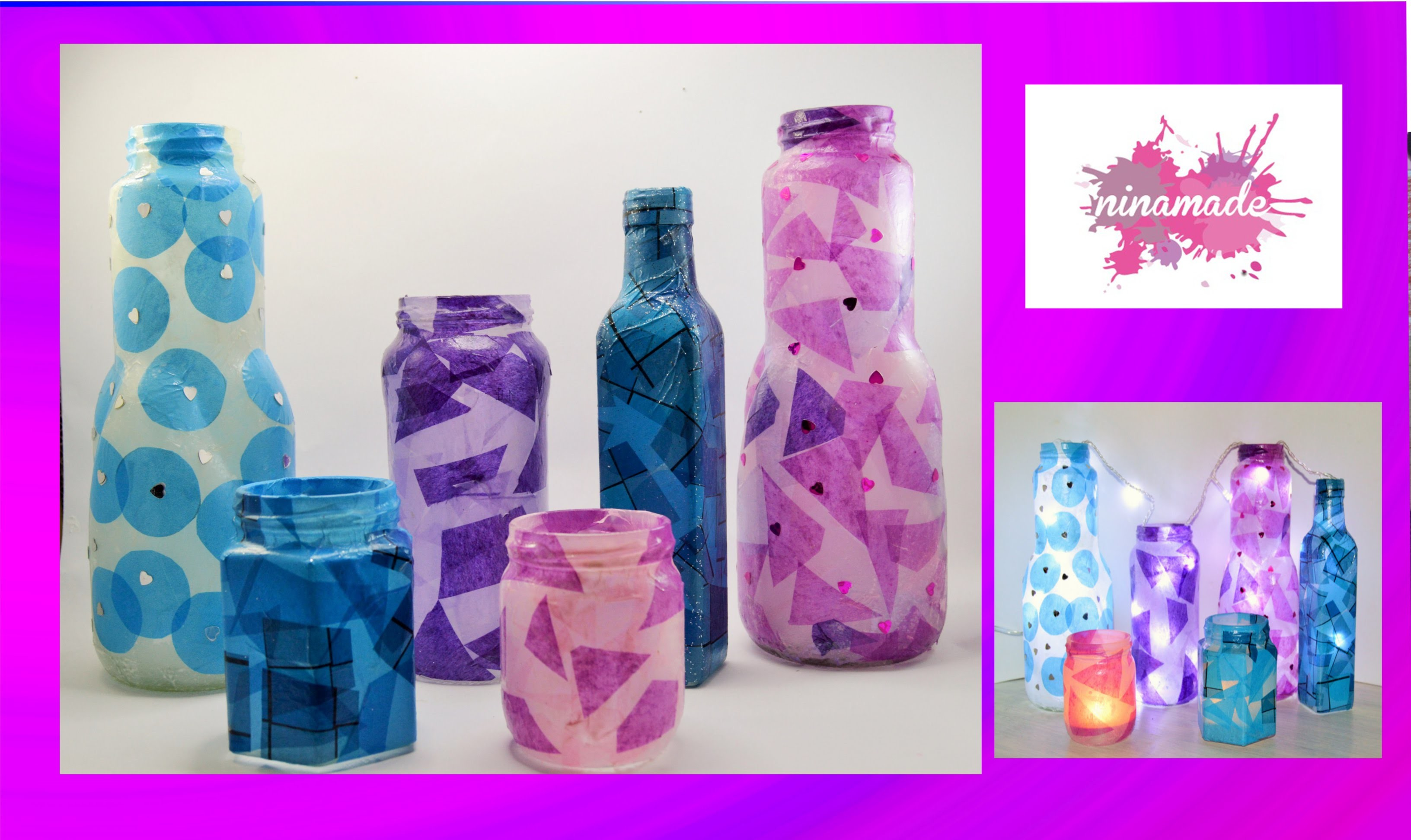 DIY. Botellas de cristal decoradas.Decoration with glass bottles.