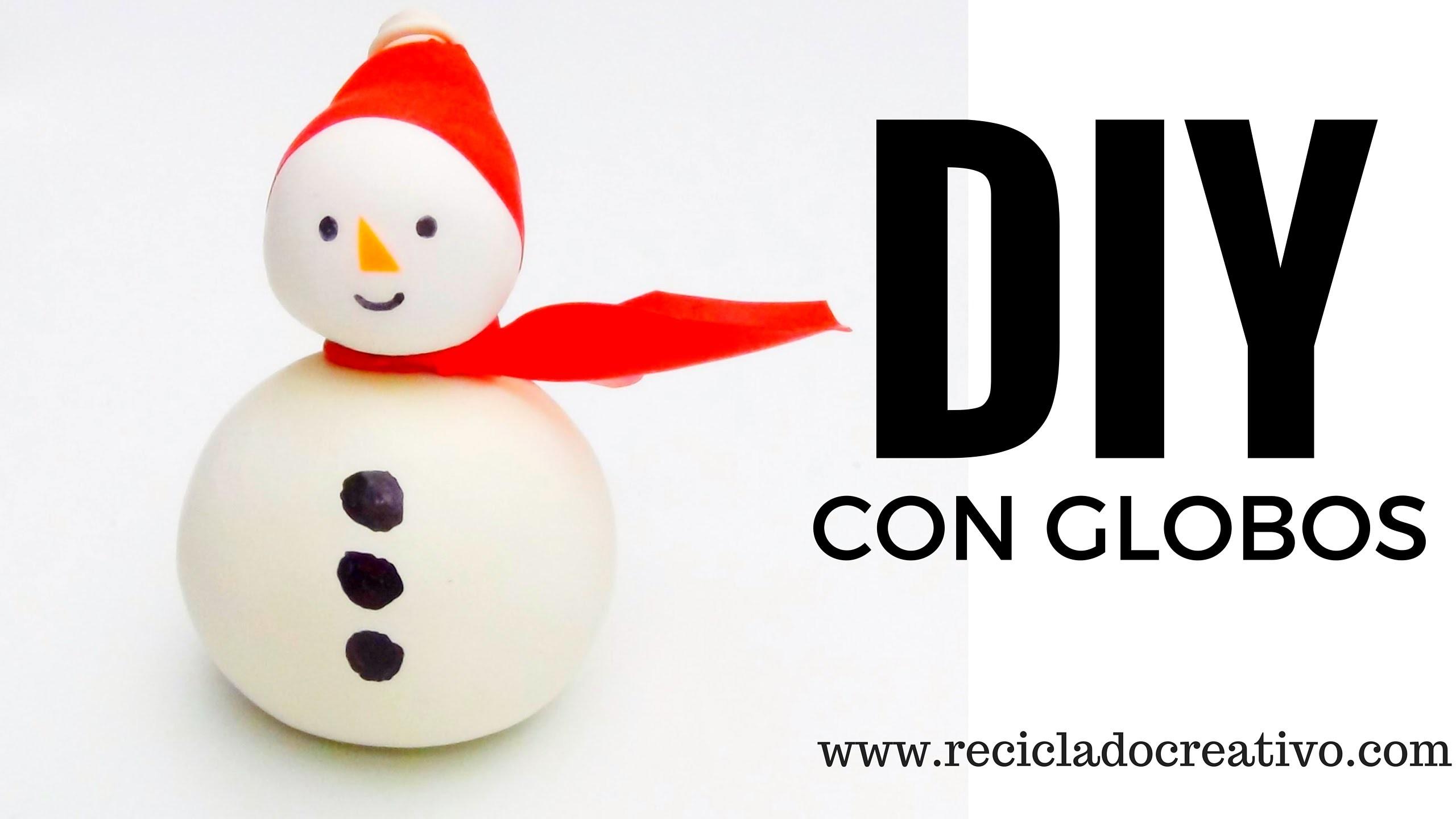 DIY Muñeco de nieve SNOWMAN con globos y sal - Manualidades para navidad con niños