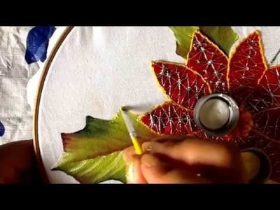 Pintura en tela hoja para nochebuena con cony