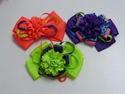 Rosas en cinta para accesorios del cabello paso a paso . Hair bows