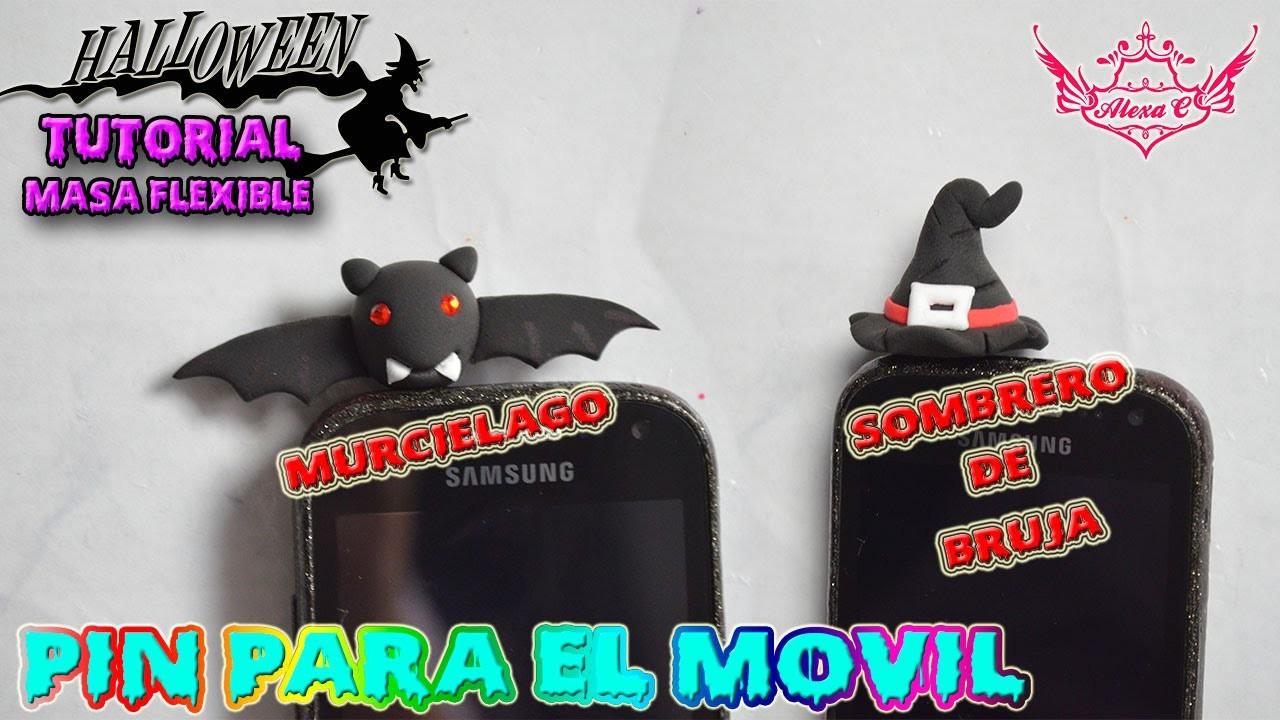 ♥ Tutorial Halloween: Accesorio para el Móvil (Murciélago y Sombrero de bruja) de Masa Flexible ♥