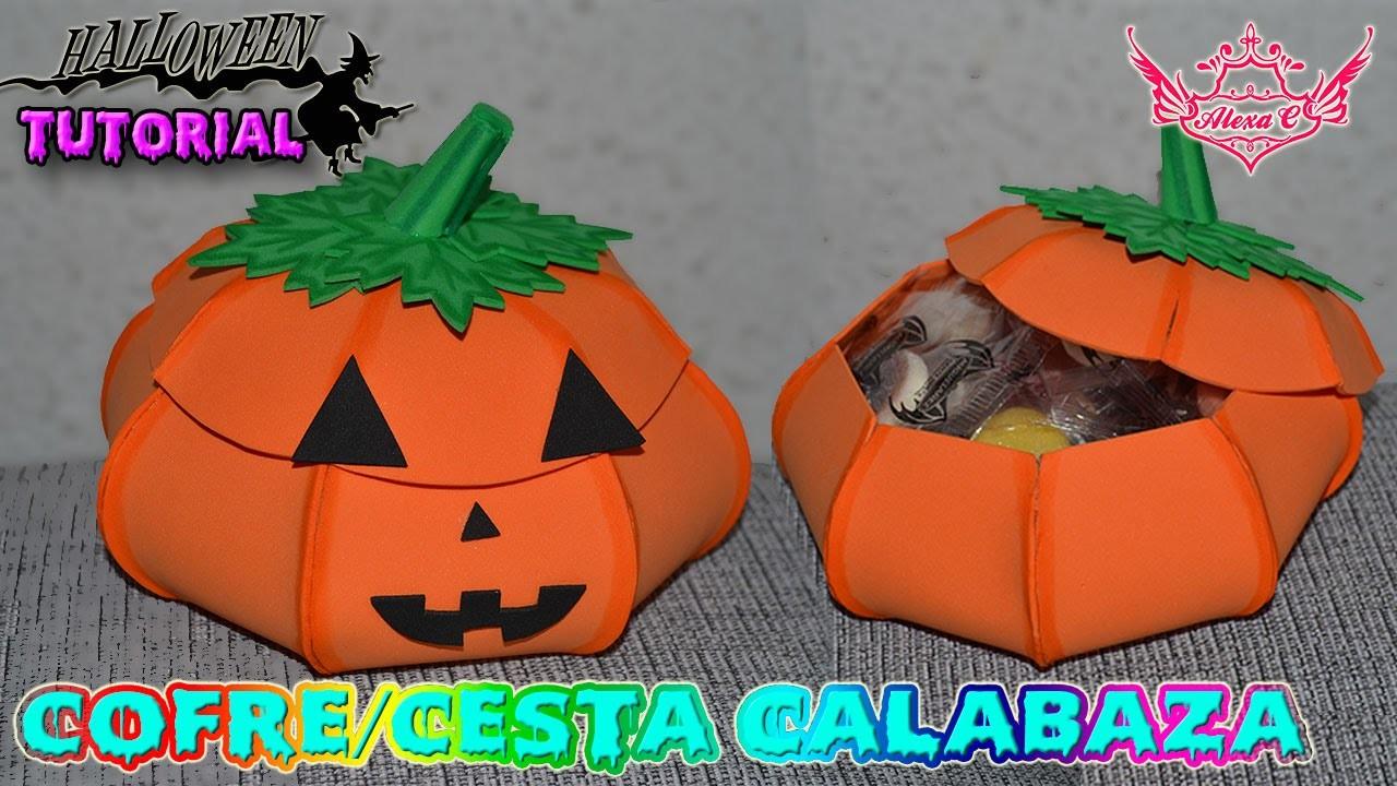 ♥ Tutorial Halloween: Cofre. cesta de Calabaza de Goma Eva (Foamy) ♥