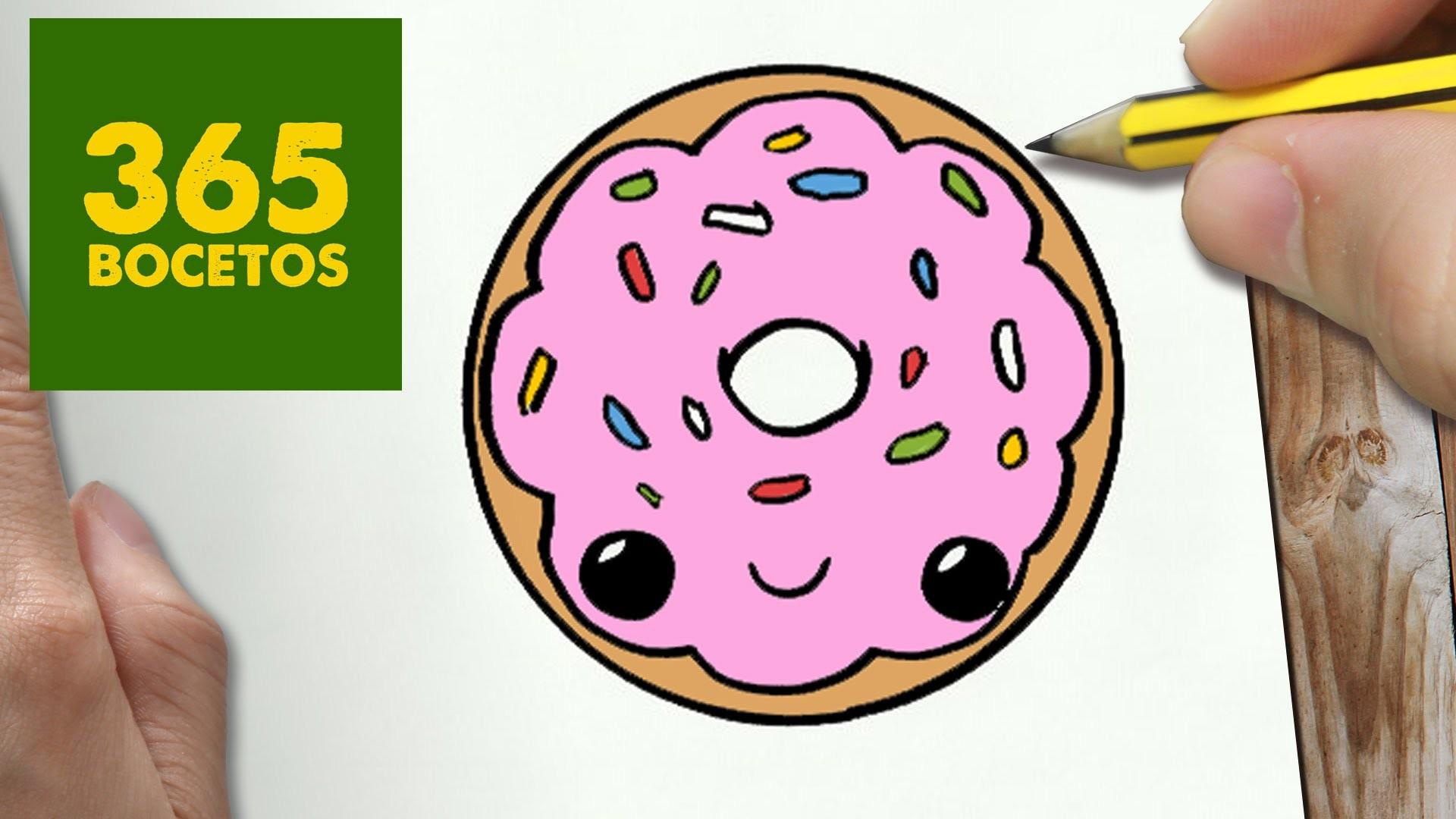 COMO DIBUJAR DONUT KAWAII PASO A PASO - Dibujos kawaii faciles - How to draw a DONUT