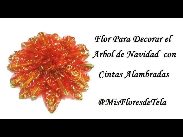 DIY Flor Navideña para el Arbol con cinta de Organza Alambrada sin coser