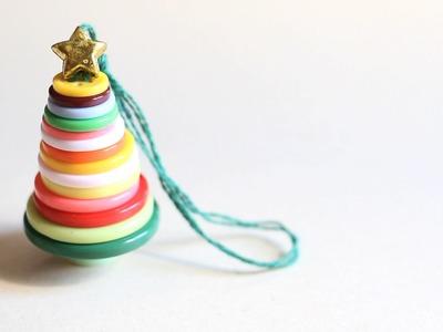 Manualidades de Navidad: Árbol de Navidad con botones DIY