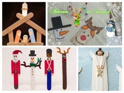 Muñeco de Nieve y Rudolf el Reno Adornos para Navidad con Paletas de Helado DIY