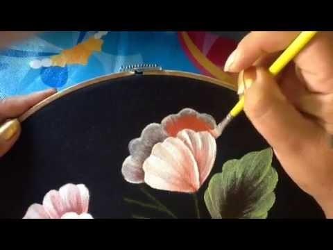 Pintura en tela blusa negra # 4 con cony