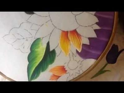 Pintura en tela rostro girasoles # 4 con cony