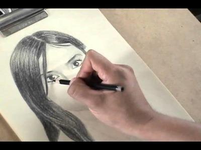 Retrato con LÁPICES DE CERA negro y blanco #4 -Velocidad Aumentada-