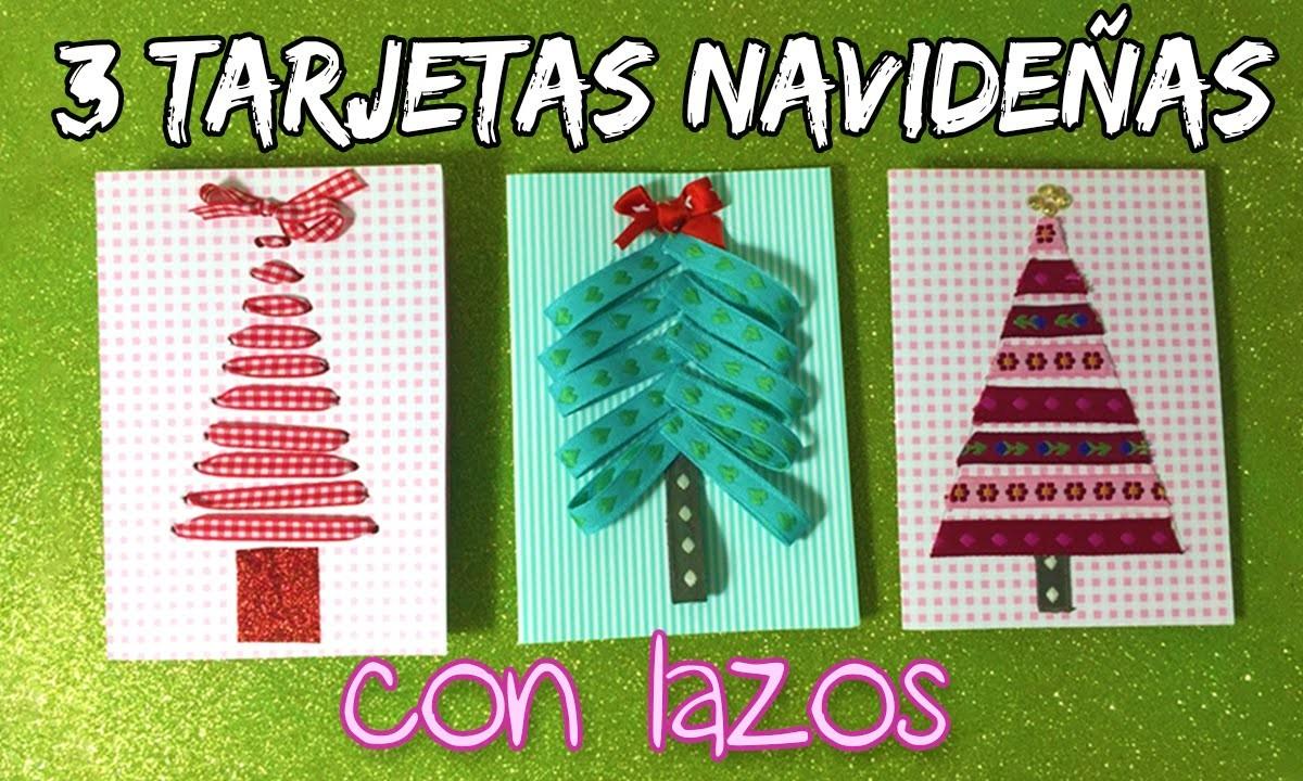3 TARJETAS CASERAS de navidad con lazos * Arboles de navidad