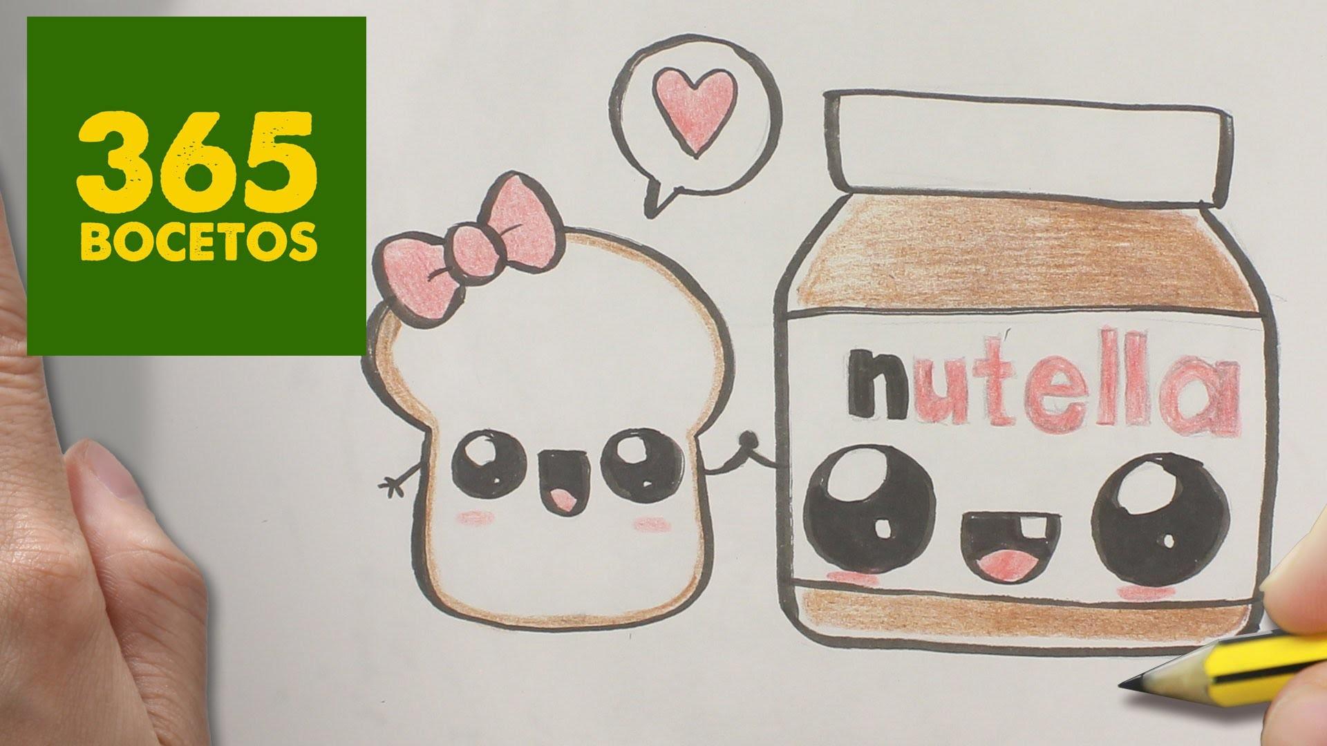 COMO DIBUJAR NUTELLA Y PAN KAWAII PASO A PASO - Dibujos kawaii faciles - How to draw a Nutella