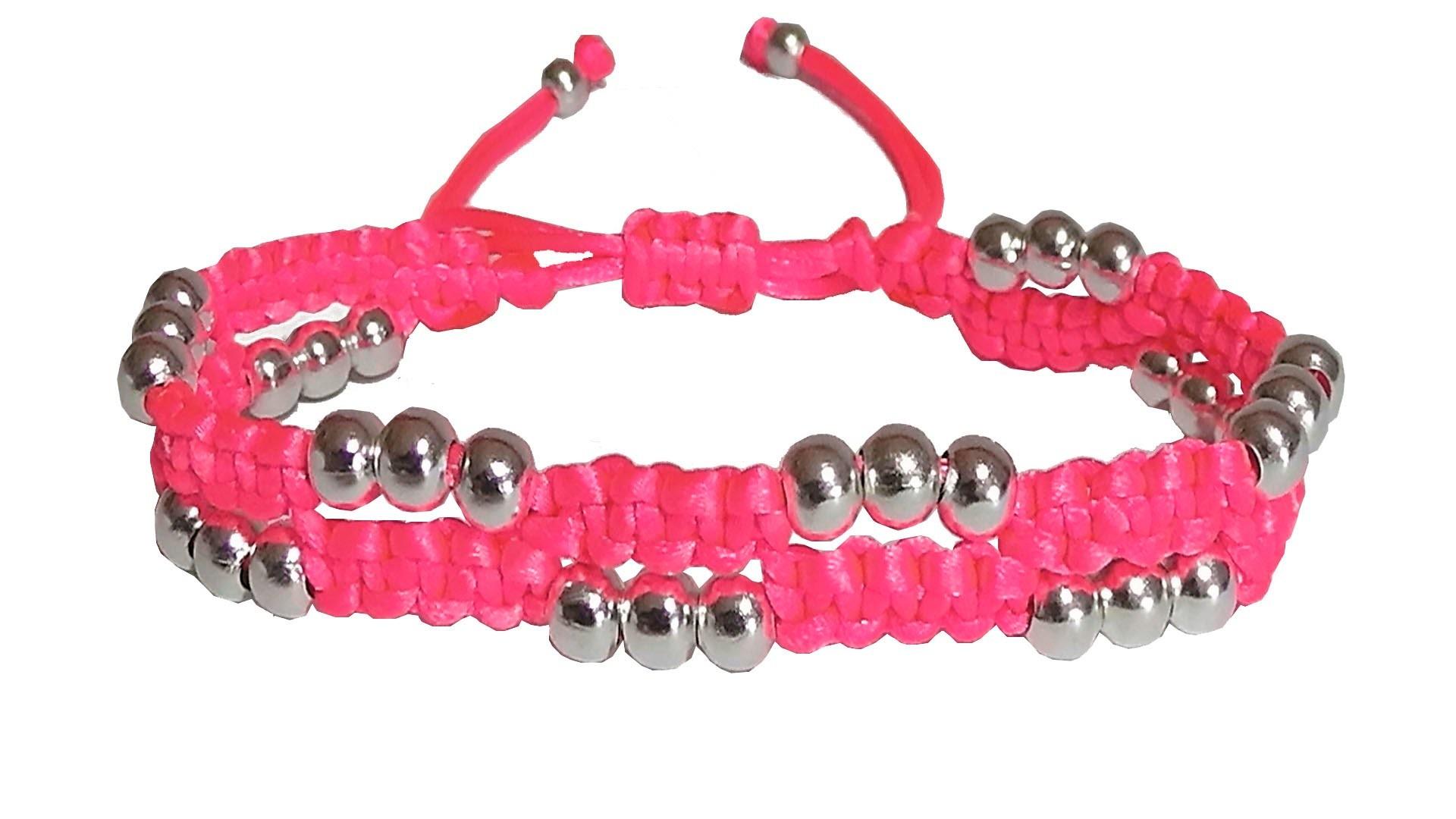 como hacer pulseras de hilo con nudos de macrame y perlas