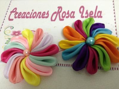 Como hacer una flor de listón multicolor