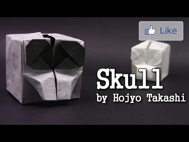 Halloween Origami SKELETON SKULL by Hojyo Takashi - Yakomoga Origami tutorial