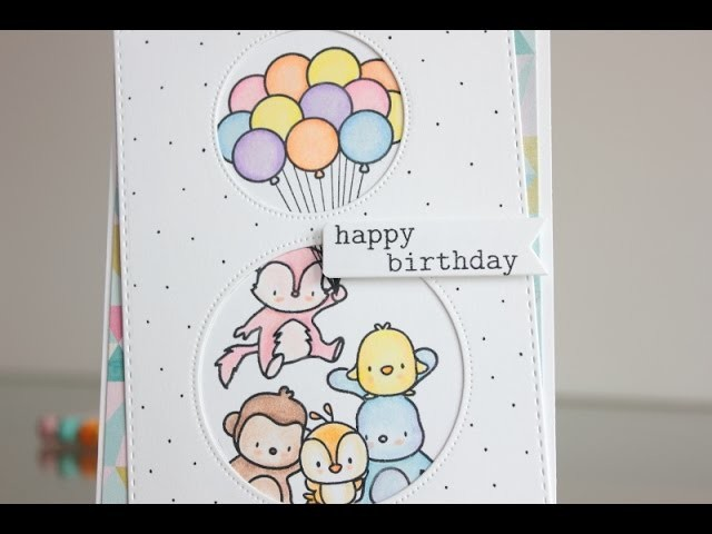 Happy birthday card with colored pencils