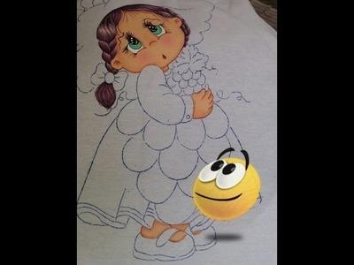 Pintura en tela Cabello de Niña Uva Parte 2