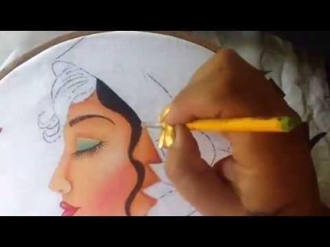 Pintura en tela rostro girasoles # 2 con cony