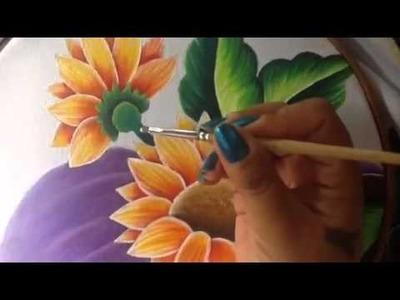 Pintura en tela rostro girasoles # 6 con cony