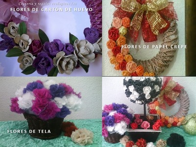 Tres flores con diferente material. Three gift flowers made different material