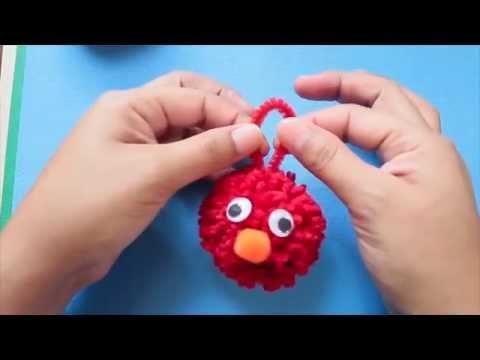 Tutorial: Elmo Hecho de pompón de lana. llavero
