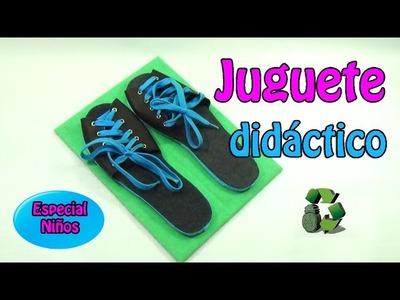 177. Manualidades: Juguete didáctico ata-cordones (Reciclaje) Ecobrisa