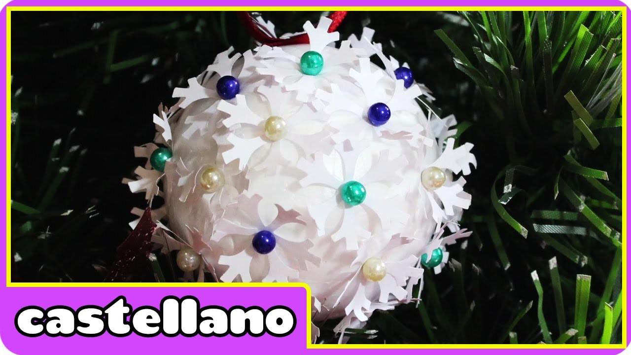 Bolas de Navidad de Copo de Nieve - Bolas de Papel   Decoracion Navidad by Hooplakidz Castellano
