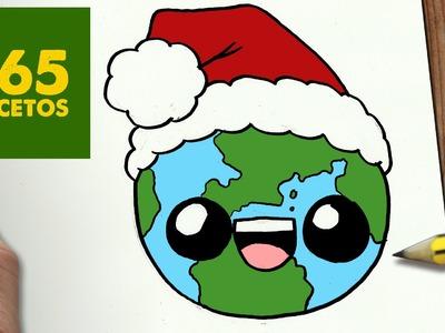 COMO DIBUJAR A LA TIERRA PARA NAVIDAD PASO A PASO: Dibujos kawaii navideños - How to draw a Earth