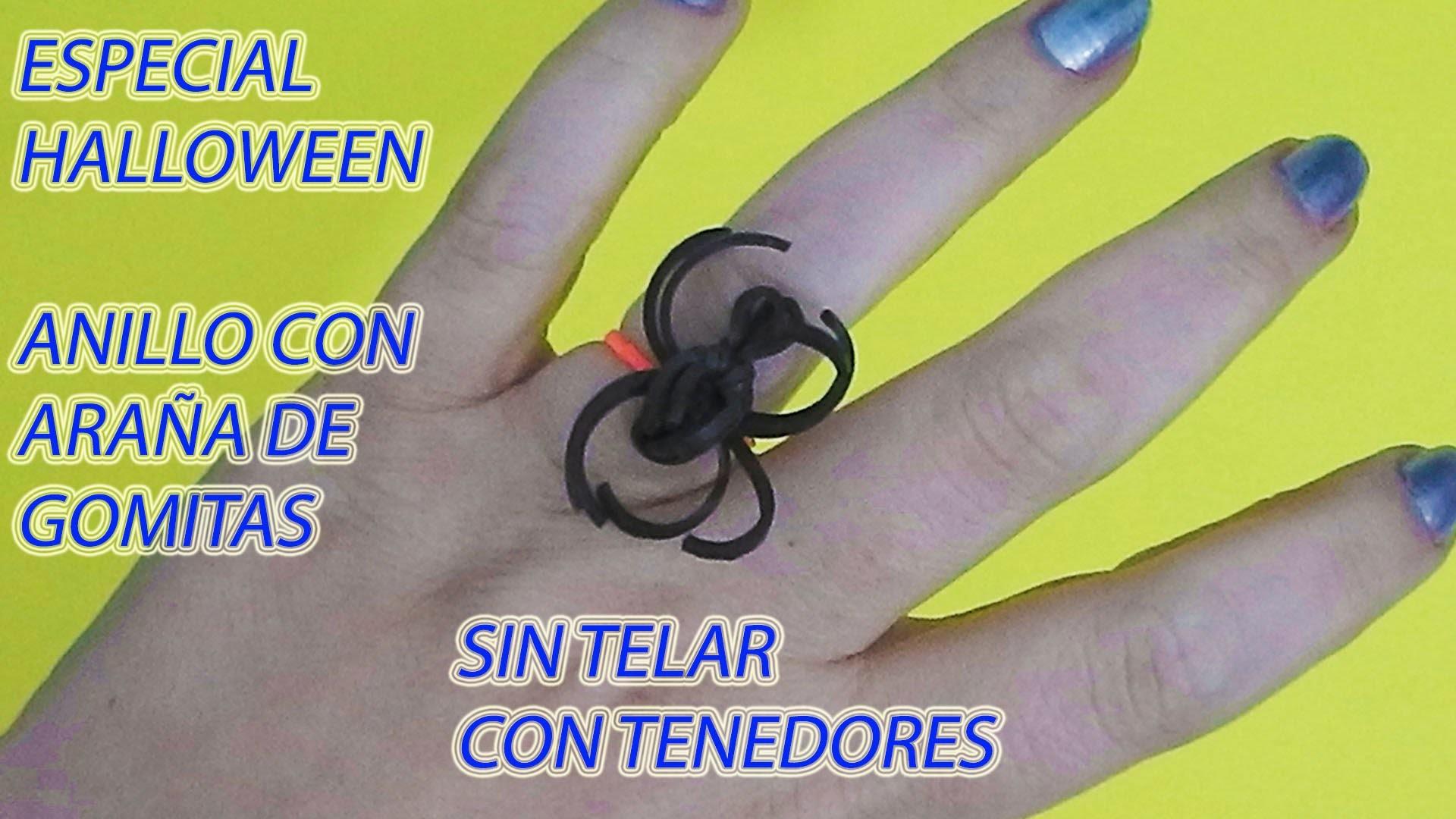 Como hacer un anillo con una araña de gomitas con tenedores, sin telar manualidades para Halloween