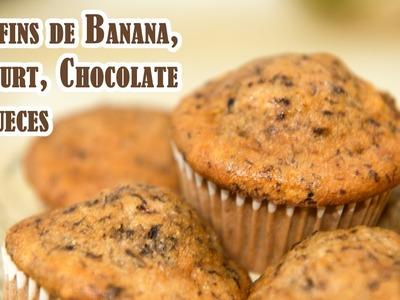Deliciosos Muffins o Cupcakes de Banana, Yogurt, Chocolate y Nueces