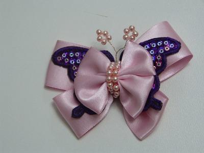 Paso a paso de Lazo Mariposa para el cabello  decorado con perlas