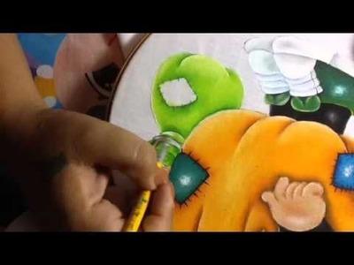 Pintura en tela niño calabaza # 6 con cony