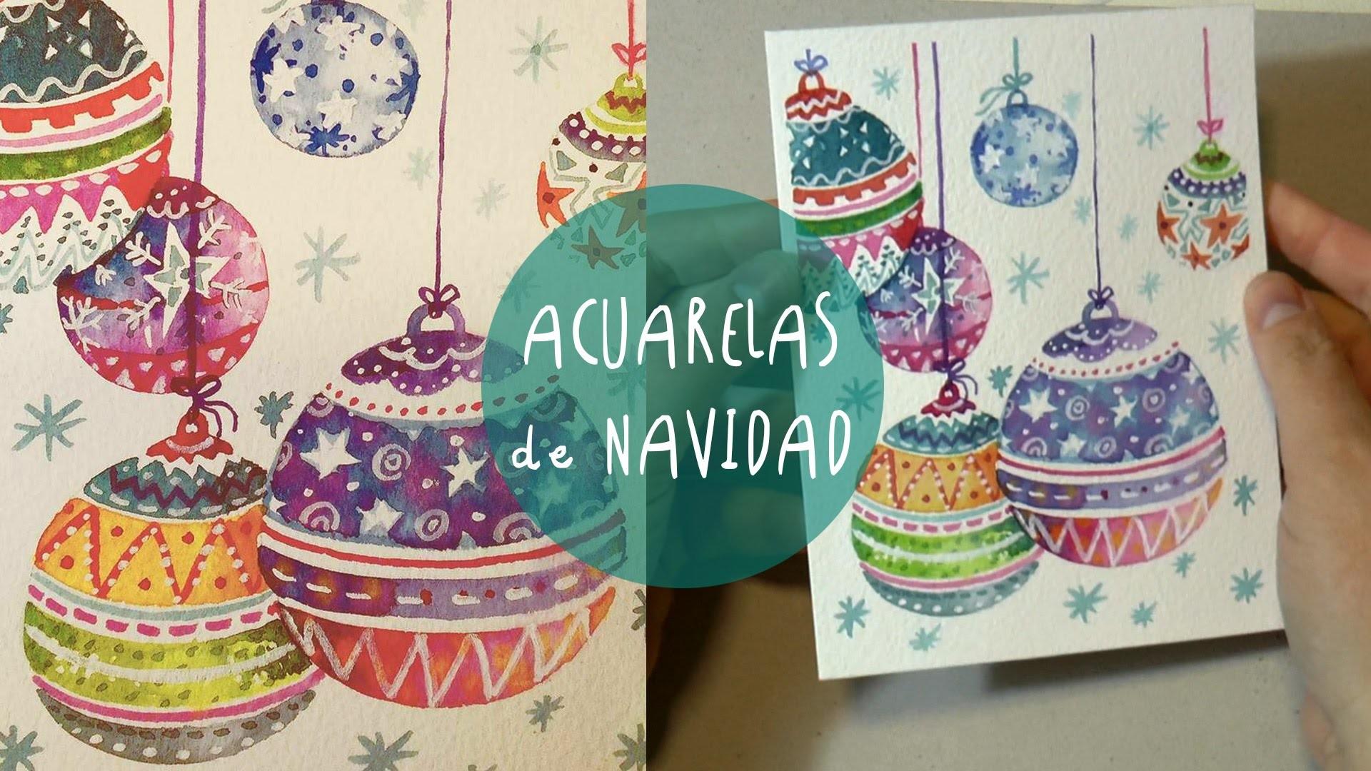 ACUARELAS DE NAVIDAD: como pintar esferas.adornos by ART Tv * SPEED PAINTING (ESPAÑO)