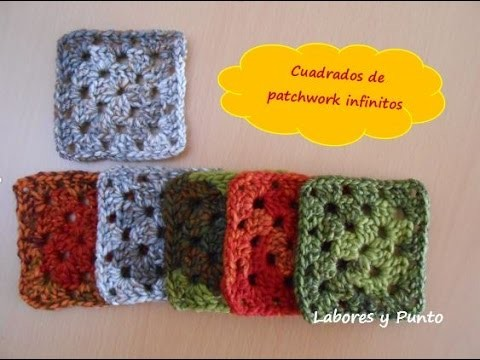 Aprende a tejer este cuadrado infinito-patchwork 8 a ganchillo o crochet