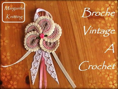Broche Vintage tejido a crochet (zurdo)