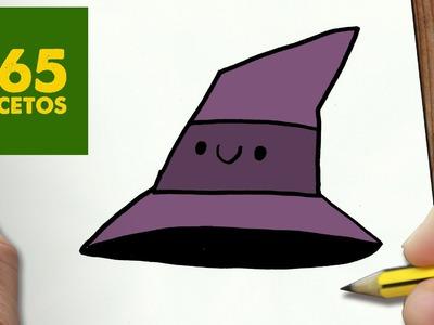 COMO DIBUJAR GORRO DE BRUJA KAWAII PASO A PASO - Dibujos kawaii faciles - How to draw a hat