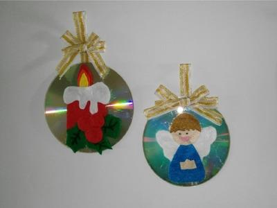 Como hacer adornos navideños con cd para el arbol de navidad manualidades tutorial DIY