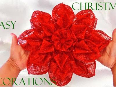 Como hacer flores Navideñas - how to make christmas bows