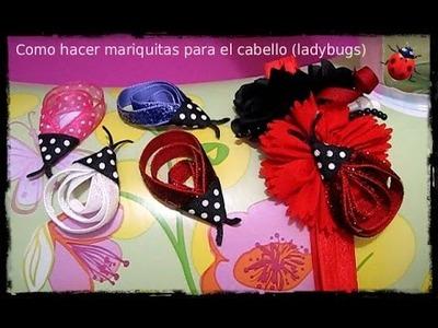 Como hacer mariquitas de cinta para el cabello (ladybug)