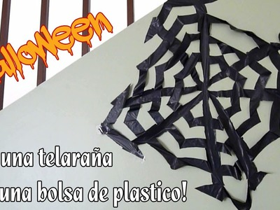 Como hacer una Telaraña para Halloween con una bolsa de plastico