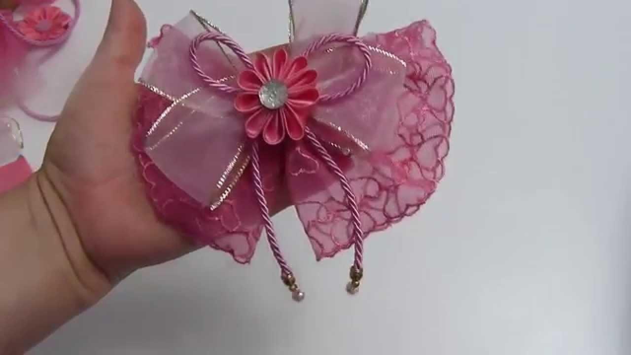 Corbatas con encaje  decoradas con flores,   para el cabello de las Niñas