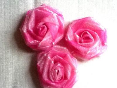 DIY Como hacer rosa de listón 2 diadema juego de baño roses de cinta