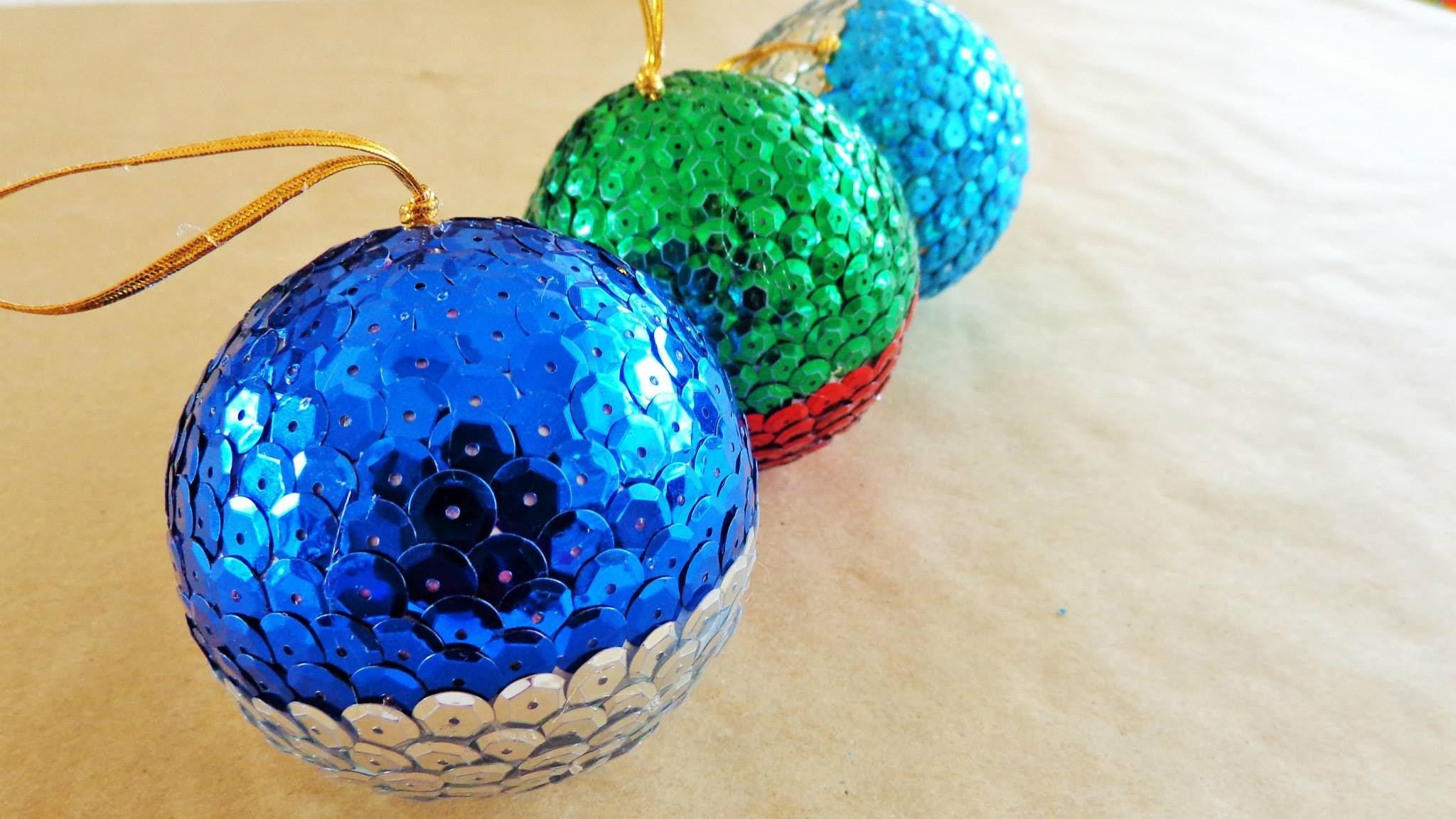Esferas navideñas de lentejuela {SIN ALFILERES}. Manualidad para navidad