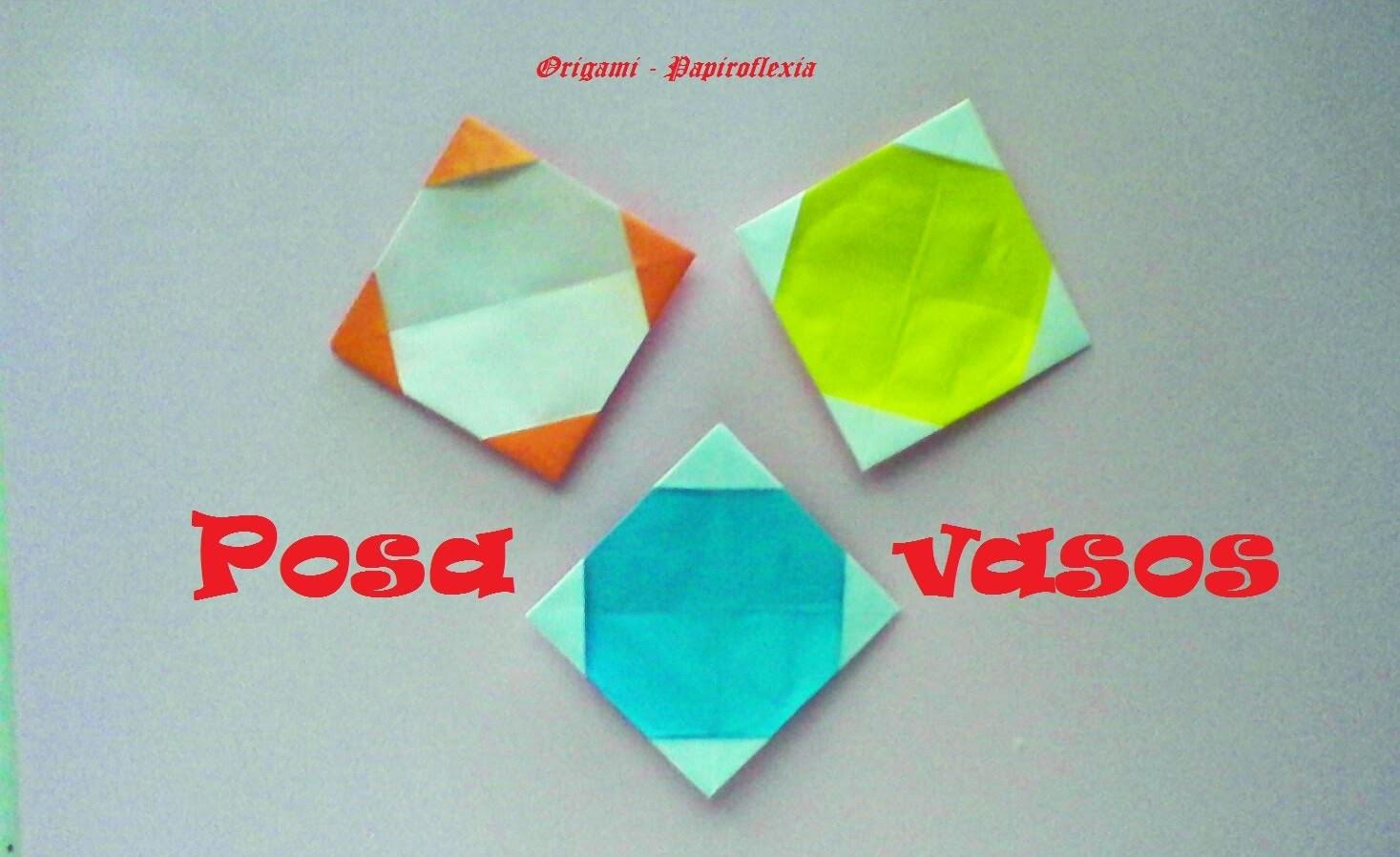 Origami - Papiroflexia. Posavasos muy sencillo y fácil