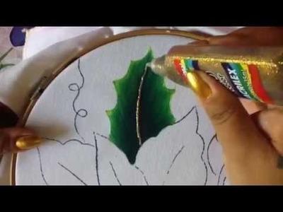 Pintura en tela hoja de nochebuena azul #1 con cony